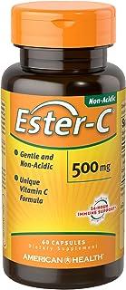 American Health Ester-C Capsules - Gentle On Stomach, Non-Acidic Vitamin C - 500 mg, 60 Count (30 Servings)
