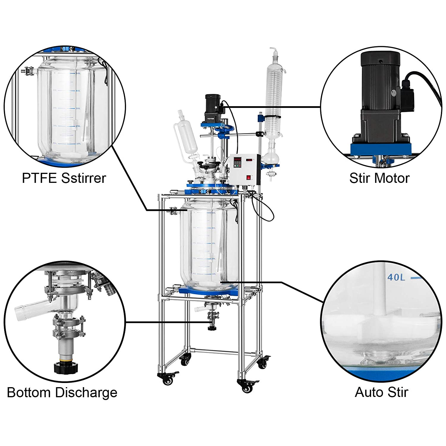 Buy VEVOR Lab Jacketed Reactor 20L Double Layer Glass Reactor 20V ...