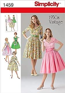 Simplicity 1459 Vintage Fashion 1950's Women's Dress Sewing Pattern, Sizes 8-16