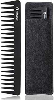 HYOUJIN 601 Black Carbon Wide Tooth Comb,100% Anti static 230? Heat Resistant,Detangling Comb,Detangler Hair Comb for Long Wet hair Hair Straighten Curly Hair