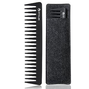 HYOUJIN 601 Black Carbon Wide Tooth Comb Detangling Comb Detangler Hair Comb for Long Wet hair Hair Straighten Curly Hair 230? Heat Resistan
