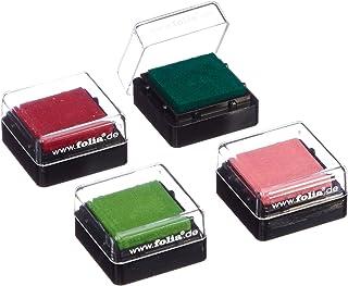 Folia 30171 - Set de 4 tampones de colores para sellos, 34 x 34 mm [Importado de Alemania] , Modelos/colores Surtidos, 1 Unidad