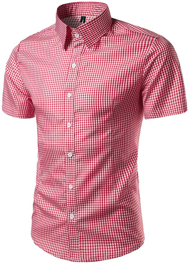 Camisa Delgada para Hombre Blusa de Rayas Rojas de celosía ...