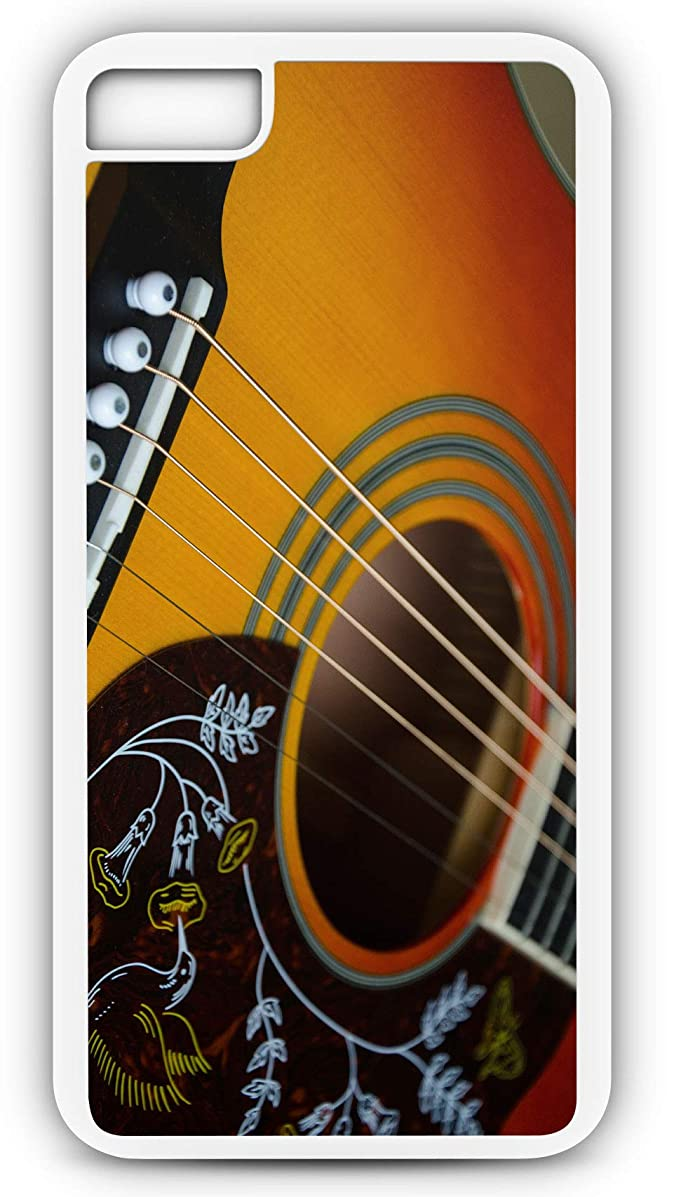 iPhone 7 Case Picking and Grinning Acoustic Guitar Customizable by TYD Designs in White Plastic Black Rubber Tough Case