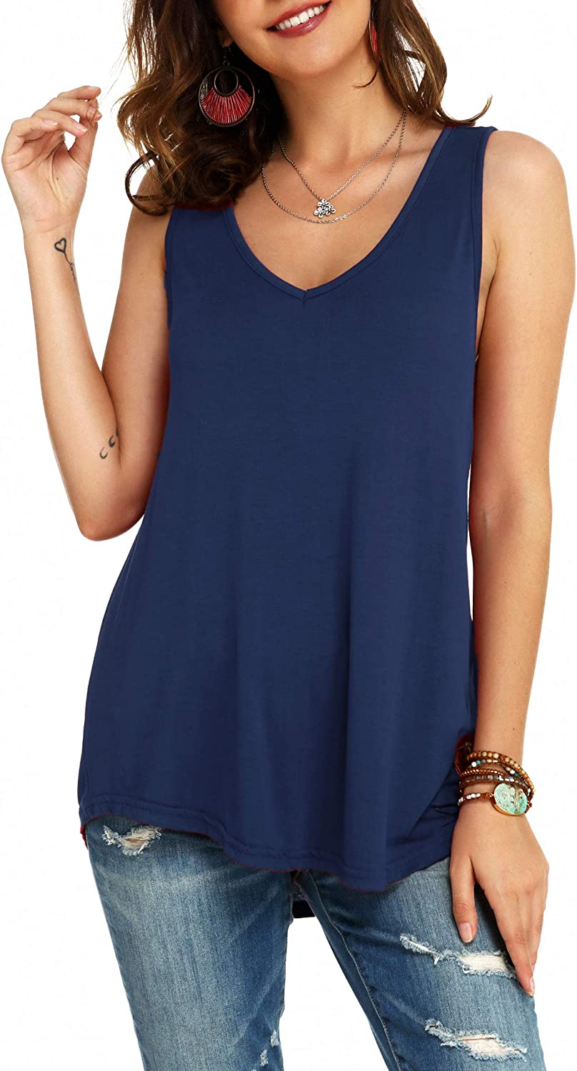 Womens Cotton V-Neck Tank Top Sleeveless Casual Loose Fit Flowy Blouse Shirts