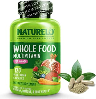 NATURELO Whole Food Multivitamin for Women - Natural Vitamins, Minerals, Raw Organic Extracts - Best Supplement for Energy...