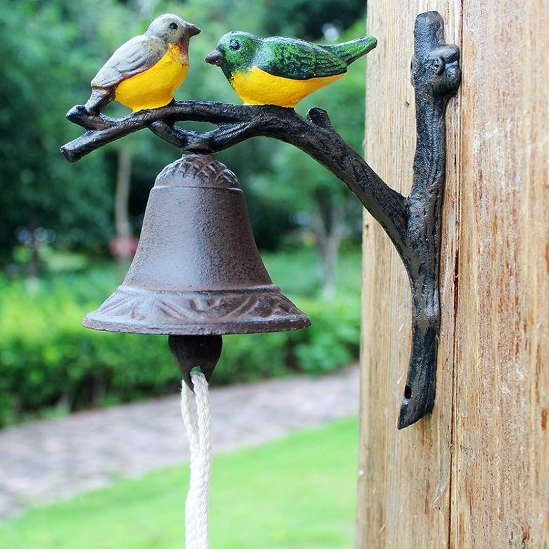 謝る彼船酔いCXQ ヨーロッパスタイルのレトロ鋳鉄ドアベル二色錬鉄製の鳥の壁手クランクドアベルペンダント