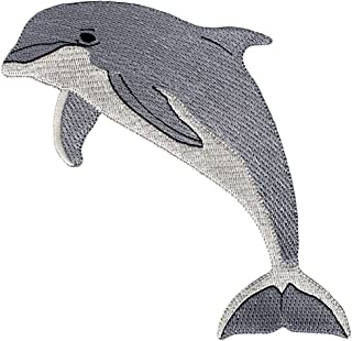 Bottlenose Dolphin Embroidered Patch Porpoise Iron-On Flipper Applique