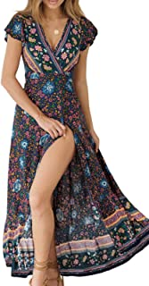 Women's Bohemian Floral Printed Wrap V Neck Short Sleeve...