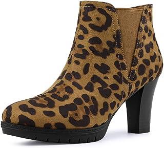 Allegra K Women`s Round Toe Block Heels Chelsea Ankle Boots