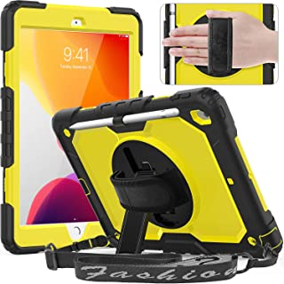 timecity Case for iPad 7th Generation, iPad 10.2 Case with Built-in Screen Protector Pencil Holder, Heavy Duty Protective Cover with 360°Rotatable Stand Adjustable Hand Strap Shoulder Strap, Yellow