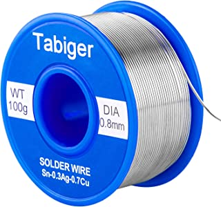 Tabiger Solder Wire, 0.8mm Lead Free Solder Wire with Rosin2 Sn97 Cu0.7 Ag0.3, Tin Wire Solder for Electrical Soldering (0.22lbs/ 100g)