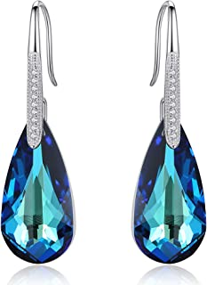 EleQueen 925 Sterling Silver CZ Teardrop Hook Dangle Earrings Made with Swarovski Crystals
