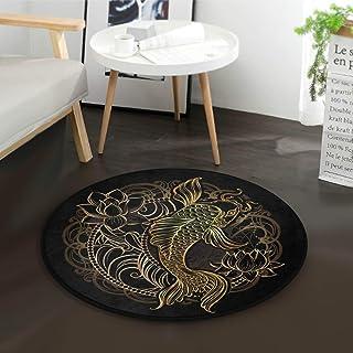 Carpette de Poisson koï doré avec Tapis Ronds en Fleur de Lotus pour Le diamètre de la Chambre à Coucher de la Salle de sé...