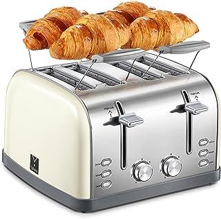 Yabano Grille-pain 4 tranches, grille Chauffe-viennoiseries, 7 niveaux de brunissage, fonction centrage, avec tiroir ramas...