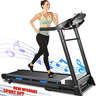 ANCHEER Treadmill, 3.25HP APP Control Folding Treadmills with Heavy Duty Steel Frame and Automatic Incline, Indoor Walking Running Exercise Machine for Home Home Gym Cardio Use