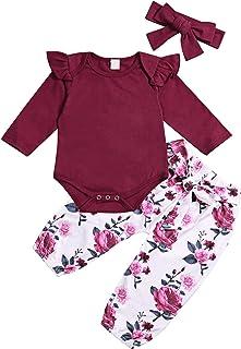 Infant Baby Girl Clothes Mameluco de Manga Larga Mono con Volantes Body Pantalones Florales Conjuntos con Diadema 3 Piezas Conjuntos