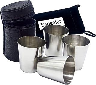 4 Stück 70ML Edelstahl Wein Trinken Schnapsglas Set mit Leder Hülle Cover