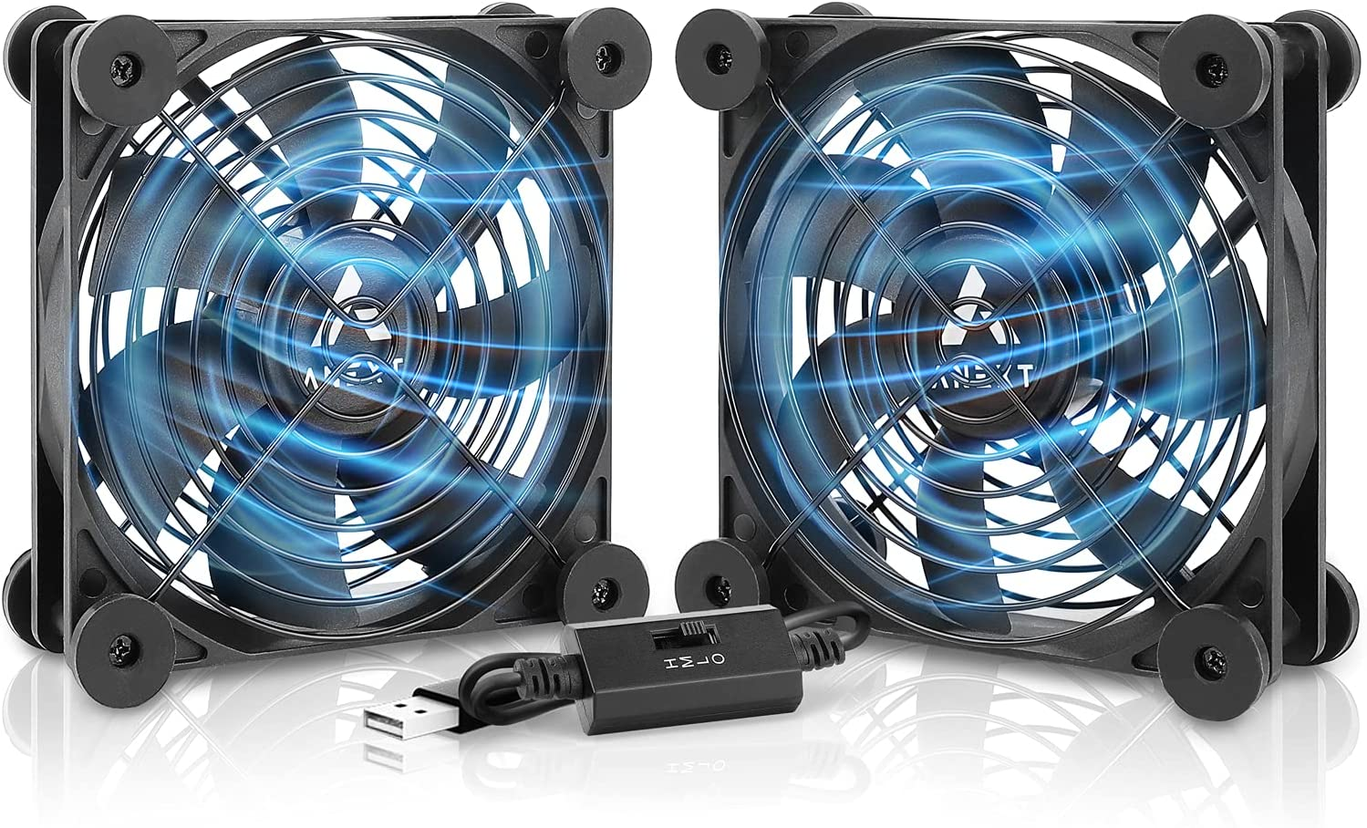 ANEXT, 120mm USB Fan, 120mm Fan, Silent Fan for Receiver DVR Playstation Xbox Computer Cabinet Cooling, 2 Packs(Black,1x Dual)