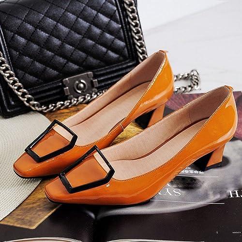 CXY Sabot de Sabot de Cuir de Sabot de Chaussure Simple avec la Boucle en Métal Chaussures à Talons Bas avec des Chaussures de Quatre Saisons,Rouge,39