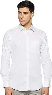 Raymond Full Sleeve Regular Collar Contemporary Fit White Cotton Solid Shirt for Men