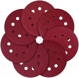 KITEOAGE Discos de Lijado, Discos de Gancho y Bucle de 5 Pulgadas y 8 Orificios, Papel de Lija de Grano Surtido 40/80/120/240/320/600/800 (paquete de 70)