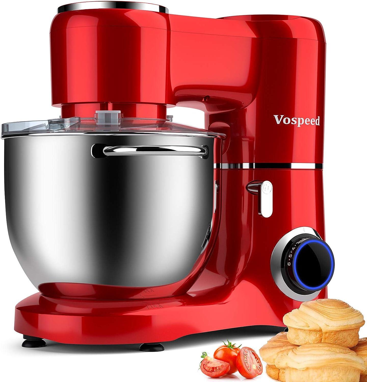 Batidora amasadora Vospeed 1500W 8L batidora para reposteria de la torta del mezclador eléctrico de cocina batidora con tazón de acero inoxidable, batidor, gancho amasador(rojo)