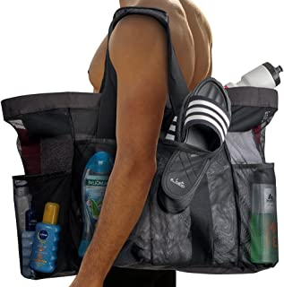 """Extra Large Beach Bags and Totes / 30"""" XXL Mesh Tote Bag with Pockets & Zipper, Heavy Duty, Lightweight & Foldable - Oversized Carry Tote Bag for Towels, Perfect to Carry All Items for Your Family"""