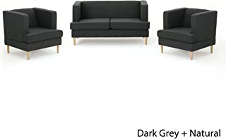 Christopher Knight Home Milacent Mid Century Modern Dark Grey Fabric 3 Piece Loveseat and Club Chairs Set,