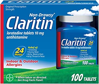 Claritin 24 Hour, Allergy Tablet, 100 Count, Loratadine 10mg, All Day and Night Relief from Allergy Symptoms Including Sneezing, Runny Nose, Itchy Nose or Throat, Itchy, Watery Eyes