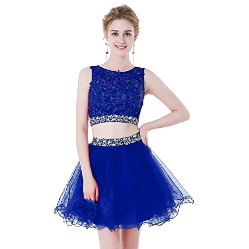 b8678ba4d292 HEIMO Women's Beaded Lace Homecoming Dresses Short Sequins Appliques Prom  Gowns H108