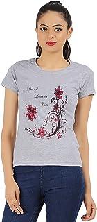 MODISH Women's Casual/Formal, Printed, Cotton T-Shirts Grey