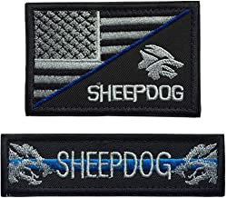 SpaceAuto Bundle 2 Pieces Thin Blue Line Sheepdog Tag 3.74