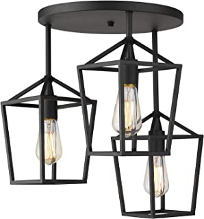 Emliviar 3-Light Ceiling Light, Semi-Flush Mount Light Fixture with Metal Cage in Black Finish, 20065D2-3 BK