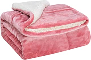 WONDER MIRACLE Fuzzy Sherpa Double Layers Super Thick and Warm Fleece Reversible Infant,Baby,Toddler,pet Blanket for Crib, Stroller, Travel, Couch and Bed (40Wx50L, Light Coral)