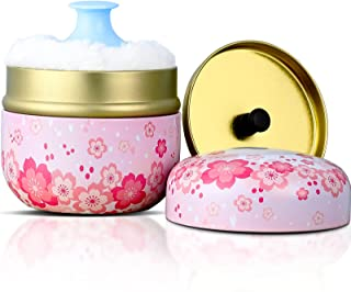 Powder Case with Powder Puff Powder Container Tea Canister for Baby and Adult Body Talcum Powder Tea Box (Pink Flower)