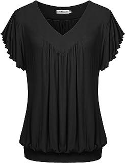 Helloacc Summer Short Sleeves Tops V Neck Ruffled Sleeve Loose Fitting Shirts