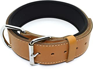 Tuberk Soft Padded, Genuine Leather, Luxury Durable and Strong Adjustable Dog Collar for Walking Training
