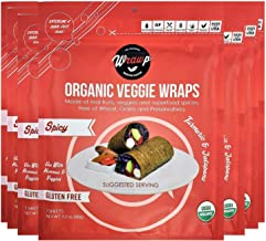 product image for WrawP Mini Spicy 8 Pack Raw Organic Veggie Wraps Bulk | Wheat-Free Gluten Free Paleo Wraps Non-GMO Vegan Friendly Full Value Case Made in the USA Plant-Based Sustainable Food