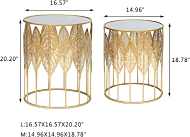 Homebeez End Tables Set of 2, Gold Nesting Side Coffee Table Decorative Round Nightstands (Stainless Steel Top)