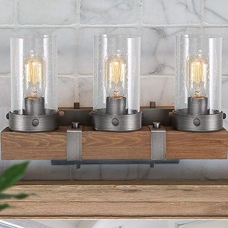 Kichler 37418 3 Barrington Distressed Black And Wood Bathroom Vanity Light Amazon Com