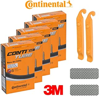 Continental Bicycle Tubes S42 Presta Valve 42mm Bike Tube - Bundle of 5 Tubes, 2 Levers and 2 3M Reflexive Stickers (Diamond White)