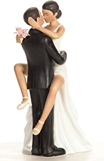 Wedding Collectibles Funny Sexy African American Wedding Cake Topper with Bride and Groom | Fun, Sexy, Humorous Figurine | Fine Porcelain | 5.5 Inches