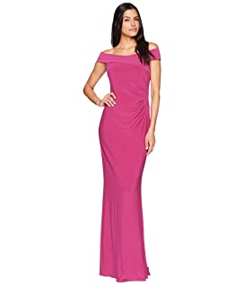 Off the Shoulder Stretch Jersey Long Gown