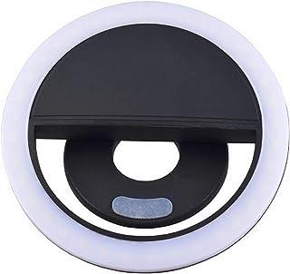 مصباح فلاش ليد بتصميم دائري لتعزيز الاضاءة اثناء التصوير بالموبايل والتقاط صور السيلفي - مناسب لاجهزة الموبايل التي تعمل ب...