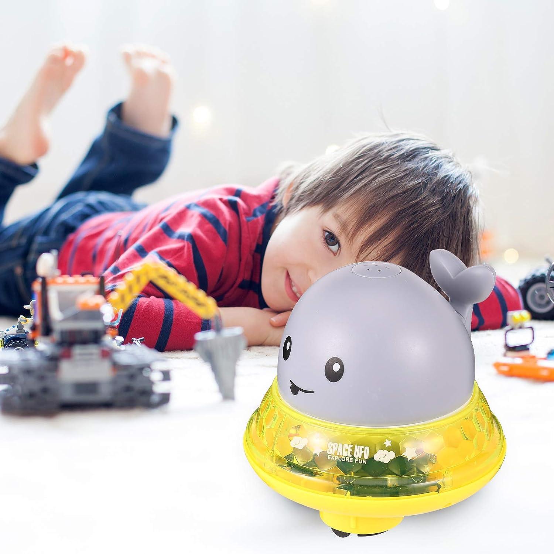 juguete flotante con luz y m/úsica juguete de ba/ño para ni/ños peque/ños con spray para inducci/ón juguete de agua 2 en 1 blanco Popuppe Juguete de ba/ño para beb/é