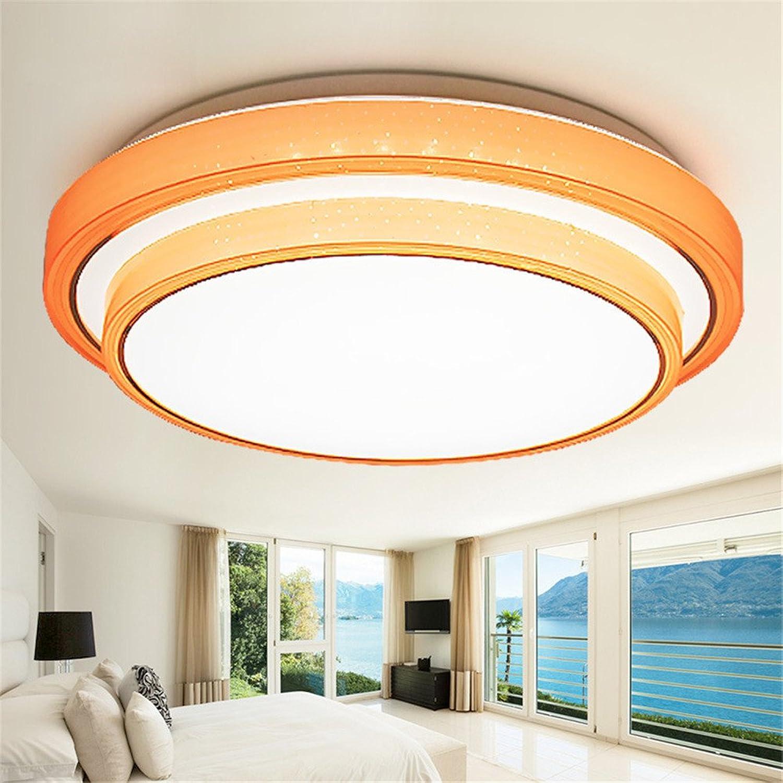 DengWu Plafonniers Moderne simple ronde à LED chaude plafonnier salle d'étude chambre fille chambre lampe lampe acrylique couleur, Orange, diamètre 500mm
