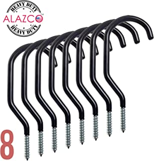 ALAZCO 8pc Heavy Duty Bike Hook & Utility Storage - Space Maximizer Instant Organizer Garage Basement Tool Shop Wall and Ceiling Mount Bicycle Hang Garden Hose Cords & More up to 60 lbs