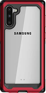 Ghostek Atomic Slim Designed for Galaxy Note 10 Case Clear Metal Bumper Phone Cover Shockproof Military Grade Protection & Wireless Charging Compatible for Samsung Galaxy Note 10 Case (2019) - (Red)
