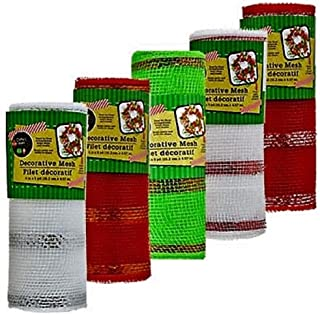 Christmas Holiday Decorative Floral Mesh Ribbon Assortment, 5-ct Set